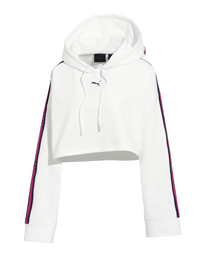 Hooded Cropped Sweatshirt w/ Racer Stripe