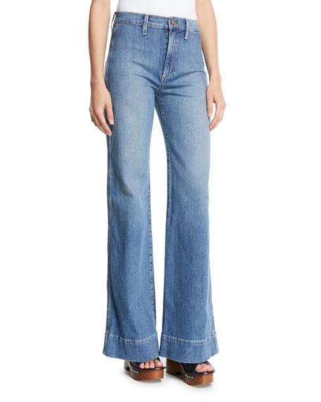 AO.LA Gorgeous High-Rise Wide-Leg Jeans W/ Rainbow Pockets in Sweet Emotion