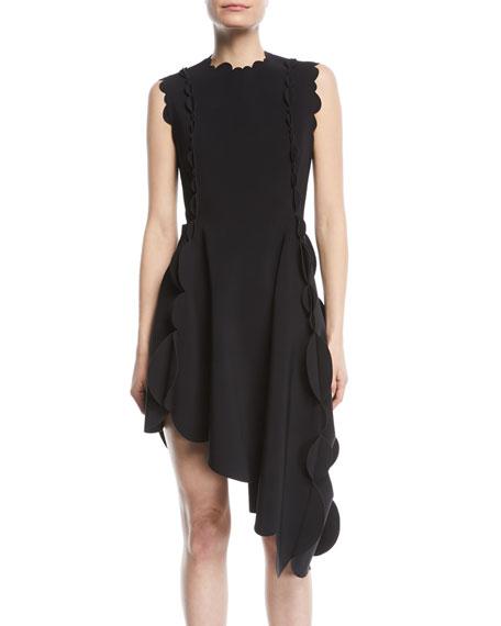 Sleeveless Scalloped Asymmetric Dress