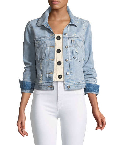 Nico Distressed Cropped Jean Jacket