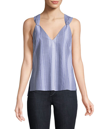 Gingham Cotton Cami w/ Knot Detail