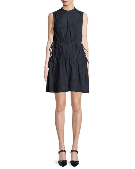 Sleeveless Cotton Dress w/ Tie Detail