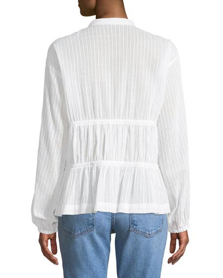 Split-Neck Long-Sleeve Cotton Blouse w/ Tie Detail