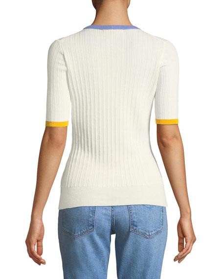 Crewneck Short-Sleeve Rib-Knit Tee