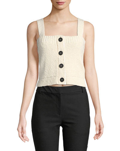 Cropped Knit Top w/ Buttons