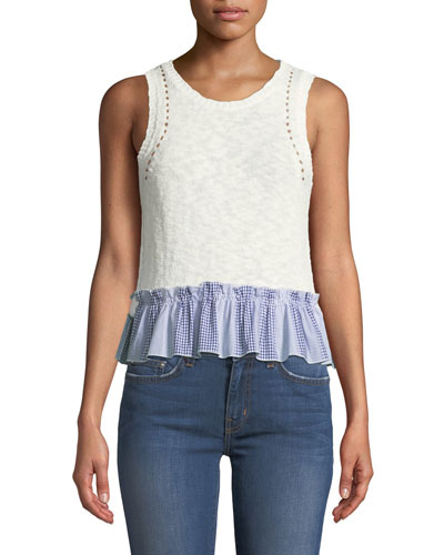 Cropped Knit Shell W/ Contrast Gingham Ruffle