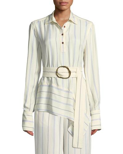 Long-Sleeve Belted Asymmetric Shirt