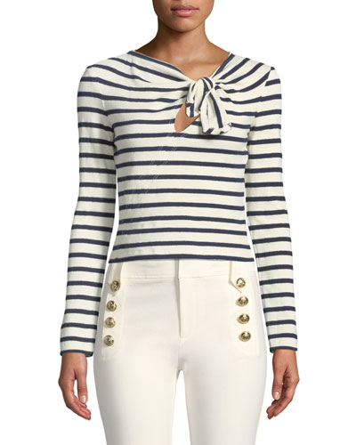 Long-Sleeve Knotted Striped Crop Top