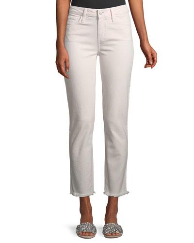 Hoxton Straight-Leg Ankle Jeans w/ Fray Hem