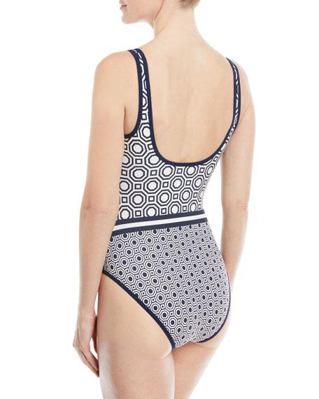 Octagon-Print Scoop-Neck One-Piece Swimsuit