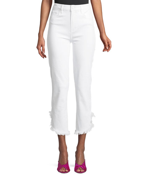 PAIGE Hoxton High-Waist Straight-Leg Ankle Jeans with Fray