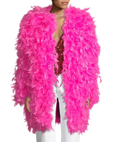 Iris Apfel Chandelle Feather Coat
