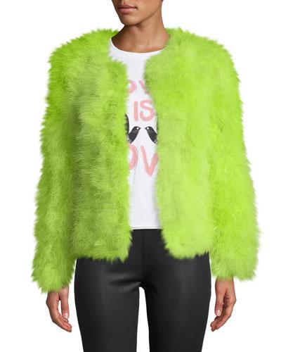 Iris Apfel Marabou Feather Jacket