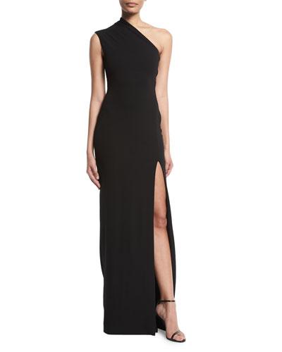 Averie One-Shoulder Side-Slit Maxi Dress