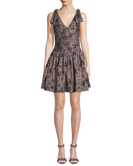 Sleeveless Floral-Jacquard Fit-and-Flare Mini Dress