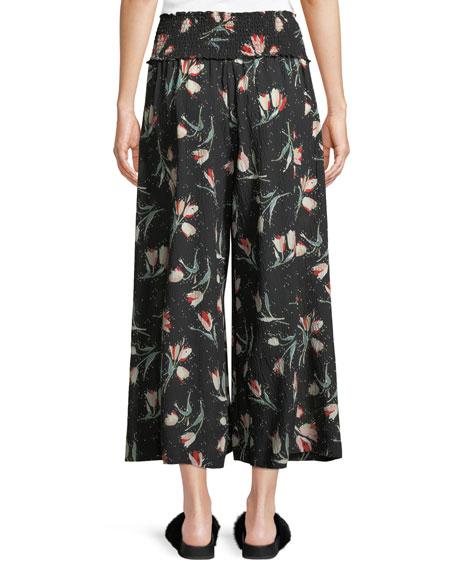 Ikat Floral-Print Wide-Leg Silk Pants