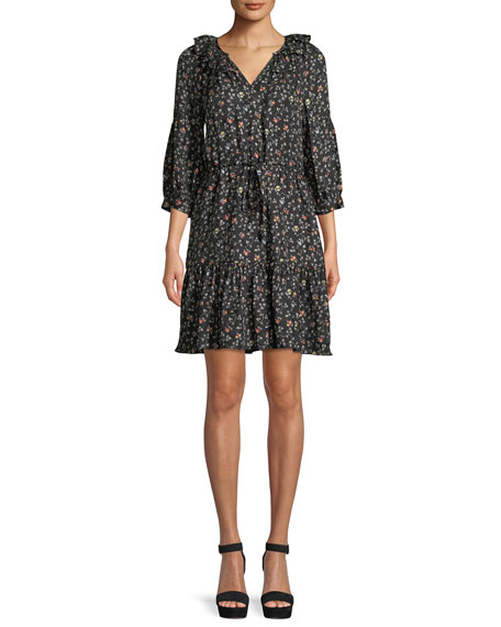 Vine-Print Long-Sleeve Silk Shirtdress