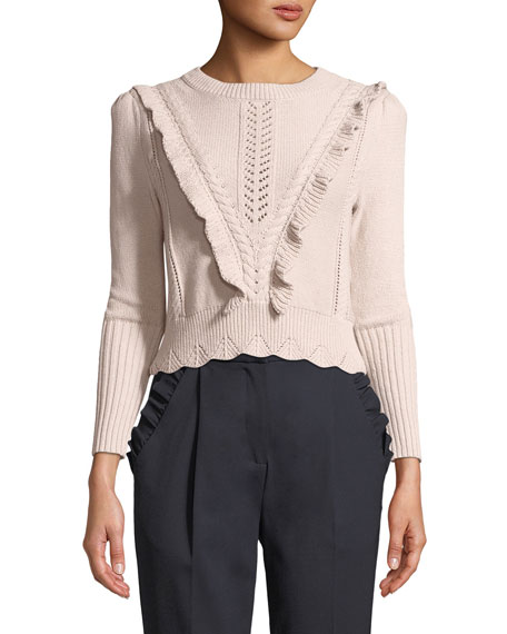 Crewneck Ruffled Cable-Knit Crop Pullover Sweater