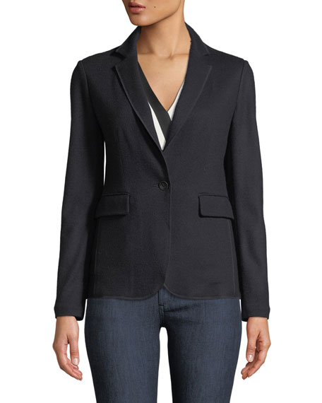 Single-Breasted Wool Knit Club Jacket