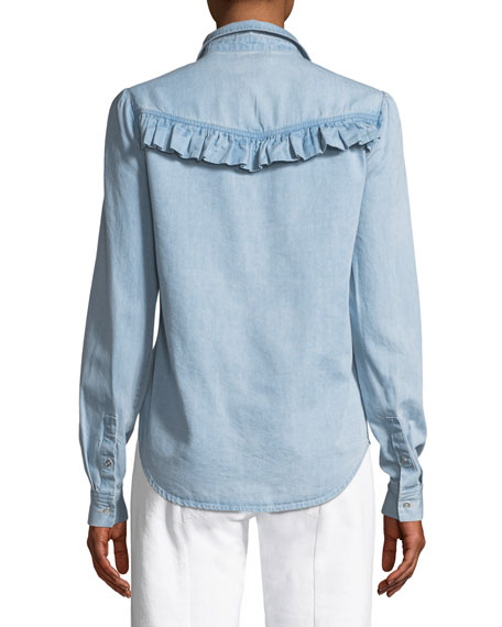 Layda Snap-Front Chambray Shirt w/ Ruffled Trim