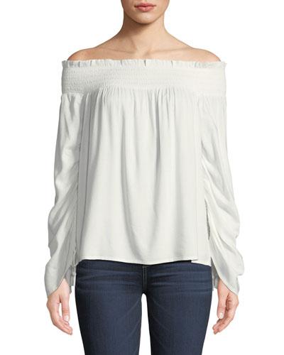 Cherita Smocked Off-the-Shoulder Drawstring Sleeve Top
