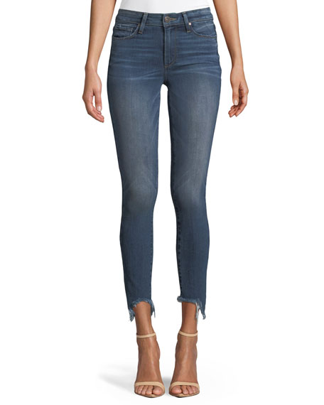 Verdugo Skinny Ankle Jeans with Torn Fray Hem