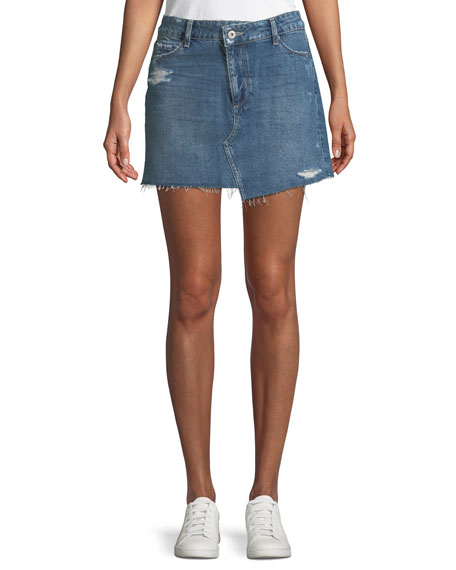 Afia A-Line Distressed Denim Mini Skirt