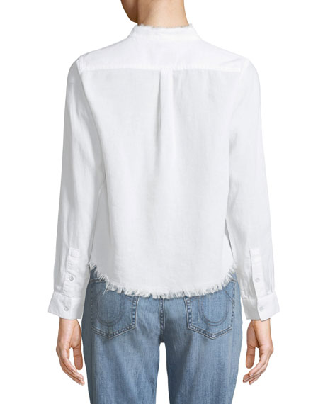 W 3RD & Sullivan Band Collar Long-Sleeve Linen Blend Top with Frayed Edges