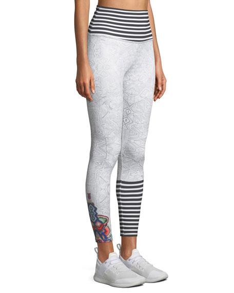 High Basic Midi Stripe-Waist Leggings