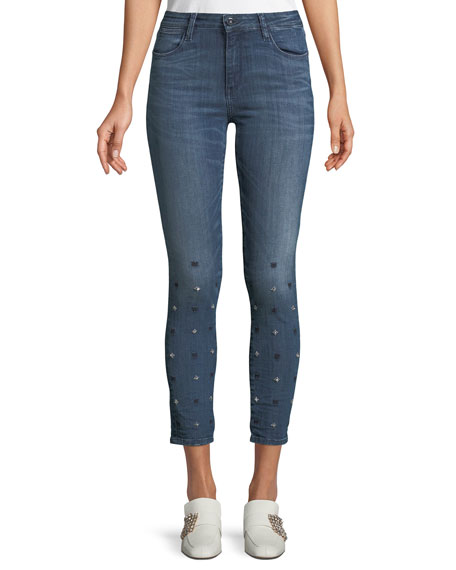 BROCKENBOW Reina Cropped High-Waist Piped Skinny Jeans in Blue