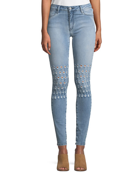 BROCKENBOW Emma Embroidered Distressed Skinny Jeans in Blue