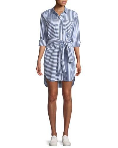 The Alda Striped Self-Tie Shirtdress