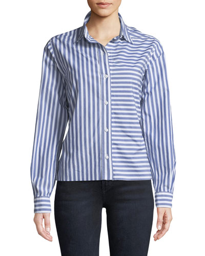 The Des Stripe Tieback Cotton Shirt