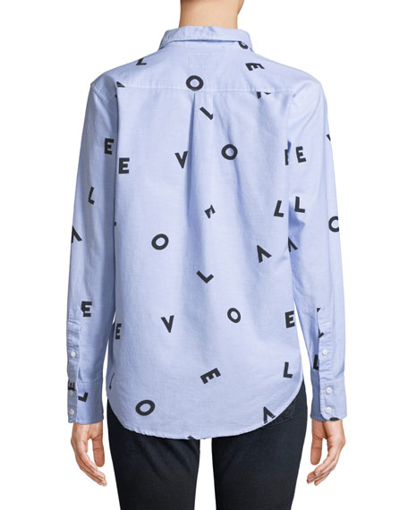 The Derby LOVE Button-Down Shirt w/ Love Print