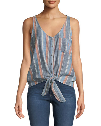 Cynthia Striped Button-Front Tank