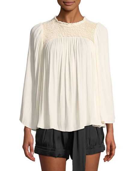 Flowy Smocked-Neck Top