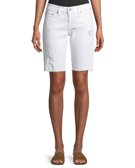 Nikki Denim Bermuda Shorts In 1 Year White Mended