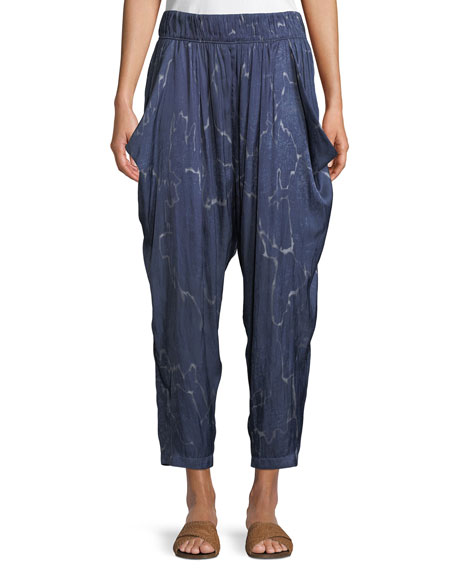 Flowy Seismic-Print Ruched Cropped Pants