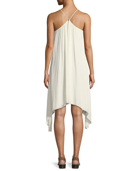 Smocked High-Neck Sleeveless Dress