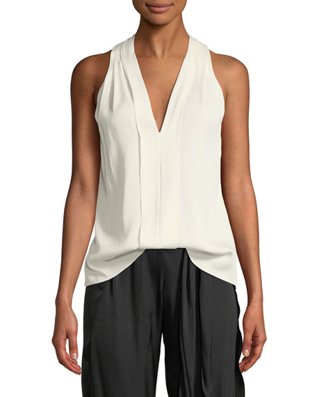 Halston Heritage Sleeveless V-Neck Flowy Drape-Back Top