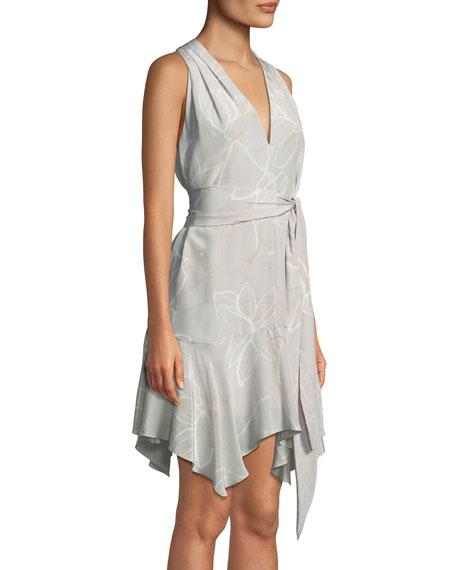 Floral-Print V-Neck Dress with Sash