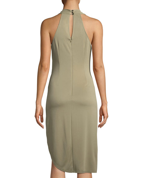 Draped Cowl-Neck Sleeveless Jersey Dress