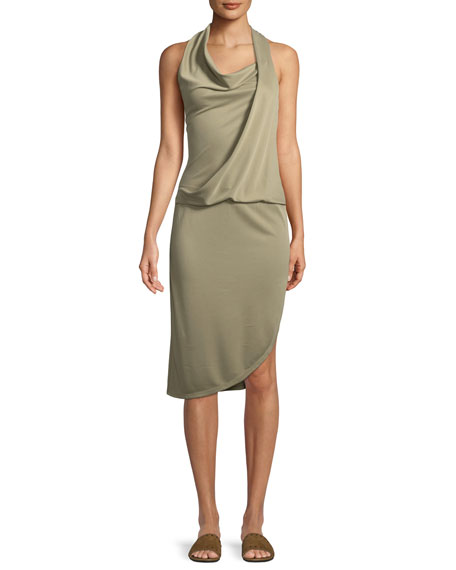 Draped Cowl Neck Dress: Halston Heritage Draped Cowl-Neck Sleeveless Jersey Dress