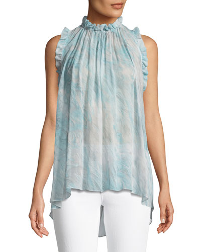 Lucy Sleeveless Silk Blouse with Ruffles