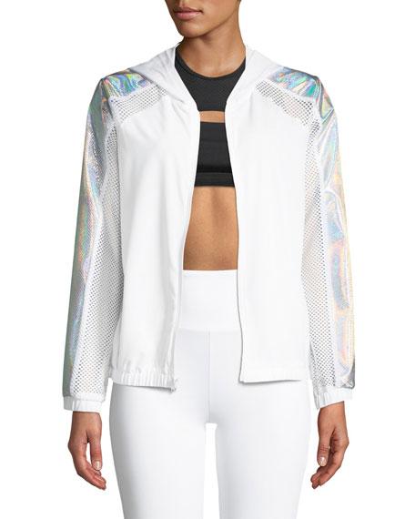 LANSTON Dante Snake-Panel Hooded Track Jacket in White