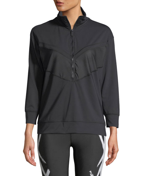 ALALA Quarter Zip Long-Sleeve Pullover Jacket in Black