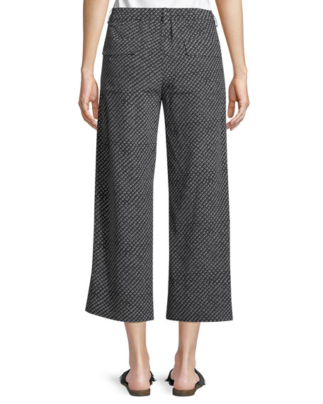 Straight-Leg Fluid Silk Box-Tile Crepe de Chine Cropped Pants