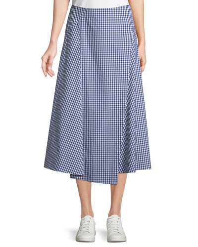 Hartman Gingham Midi Cotton Placket Skirt