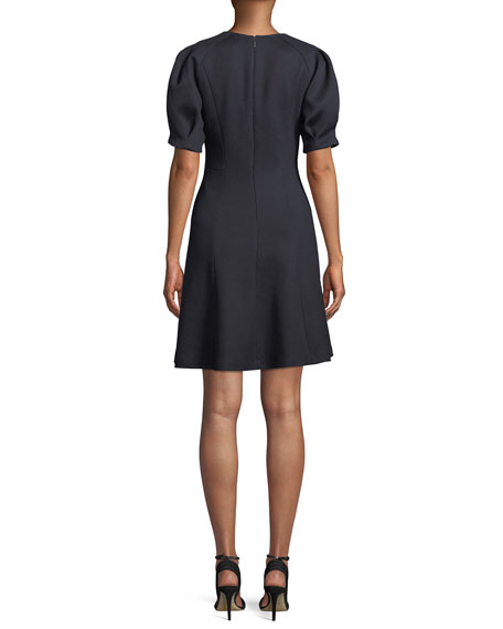 Short-Sleeve Stretch-Texture Dress