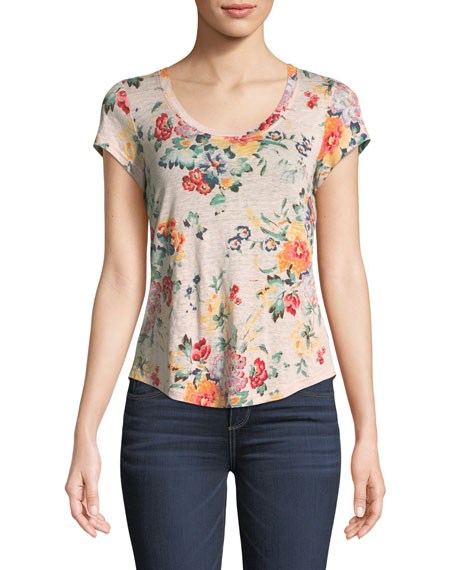 Scoop-Neck Floral-Print Linen Jersey Top